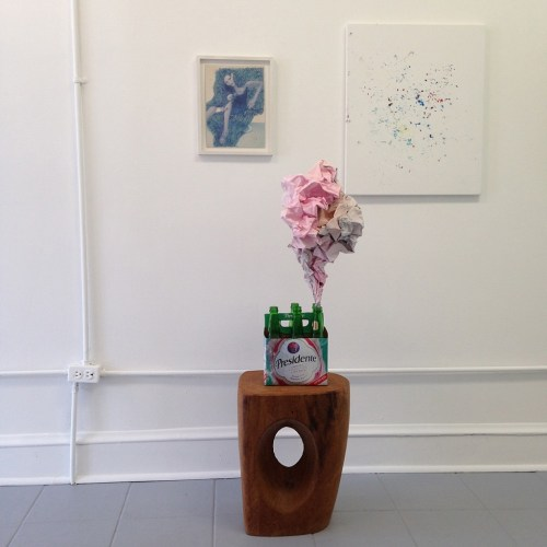 Installation view of LAWRENCE & CLARK. Left to right: works by Erik Schmidt, Maxwell Graham, and a sculptural work by Halsey Rodman.