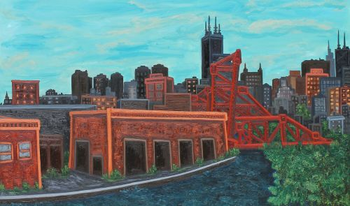 """Kevin Swallow. """"On the Banks of Bubbly Creek,"""" 2015. Oil on canvas, 36 x 60 inches."""