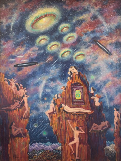 "Macena Barton (1901-1986). ""Flying Saucers."" Oil on canvas, 40 x 30 inches."