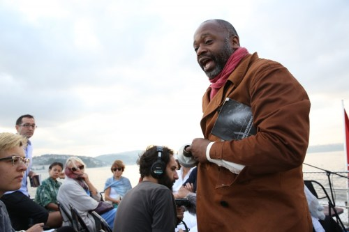 """Theaster Gates. """"The Anthem of Mu,"""" 2015. Performance on the Bosphorus for """"Saltwater: A Theory of Forms."""" /Photo: Mehmet Girgin."""