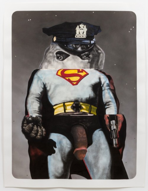 """Nathaniel Mary Quinn. """"The Making of Super Nigga,"""" 2015. Black charcoal, gouache, soft pastel, oil pastel, oil paint, paint stick, acrylic silver leaf on Coventry Vellum paper, 50 x 38 inches, paper; 56 x 44 inches, framed. Photo: RCH 