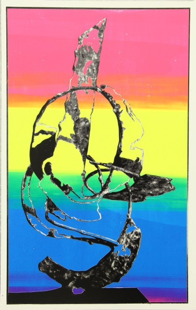 """Christopher Michlig. """"To Everyone V,"""" 2015. Collage, high-gloss enamel on poly-coated poster paper, 22 × 14 inches."""