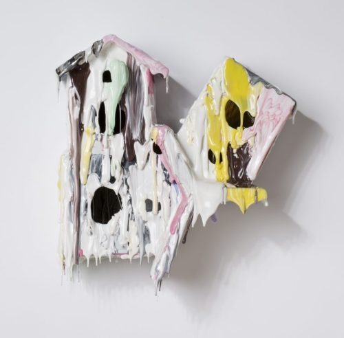 "Daniel Bruttig. ""Tree House Taffy,"" 2013. Hot glue, inks, crayons, acrylic paint, wood, clock cases,14 x 13 x 6 inches."