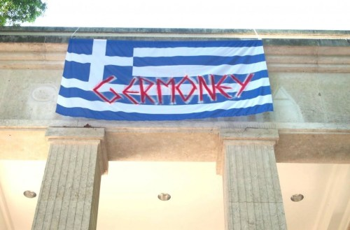 """GERMONEY"" banner at the German Pavilion, 56th Venice Biennale. /Photo: Hito Steyerl."