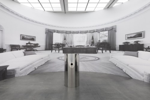 """Installation view of """"Kathryn Andrews: Run for President"""" at the MCA Chicago showing """"Lethal Weapon,"""" 2012. /Photo: Nathan Keay."""