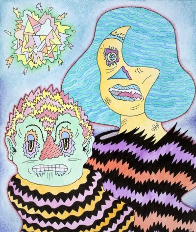 "Joe Tallarico. ""Marold and Haude,"" 2014. Watercolor, ink and colored pencil, 11 x 15 inches."