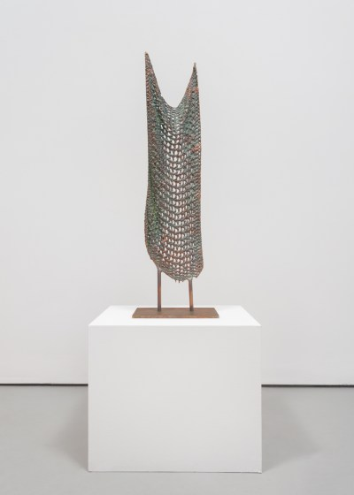 "Michelle Grabner. ""Untitled,"" 2015-16. Bronze cast of fabric stencil, 34.5 x 11 x 7 inches."