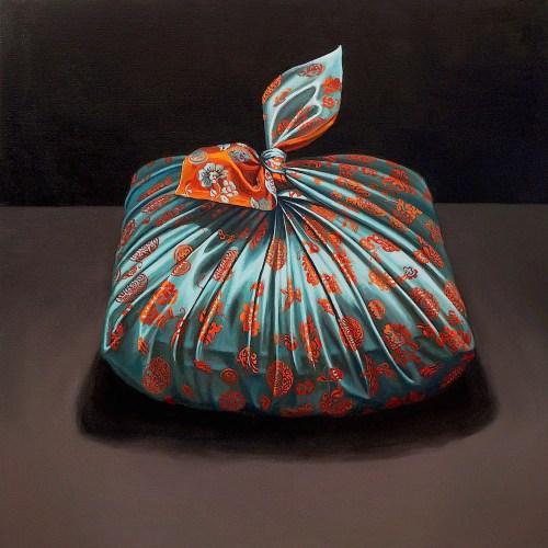 """Leeah Joo. """"Pojagi Dowry,"""" 2015. Oil on canvas."""