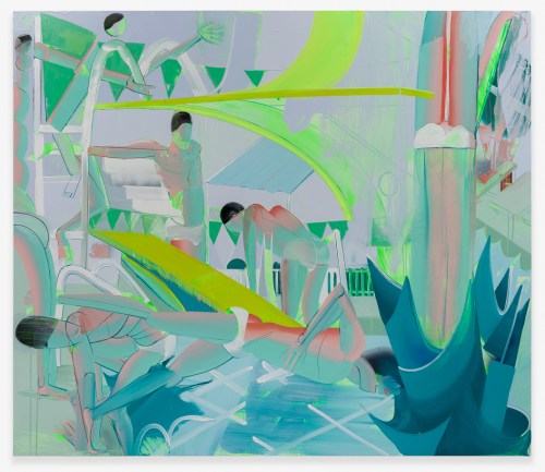 """Andrew Holmquist. """"Swimming Meet,"""" 2015. Oil, acrylic and spray paint on canvas, 84 x 72 inches."""