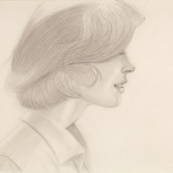 "Alex Katz. ""?Jeannie,"" 1974. Pencil on paper?, 14 3/4 x 22 1/8 inches?."