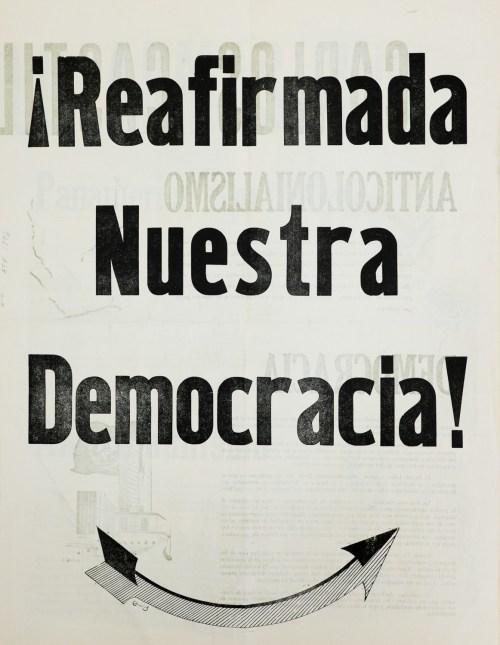 """¡Reafimada nuestra democracia!,"" Newsprint Broadside, 1954."