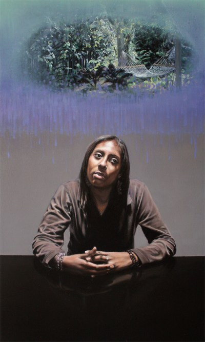 "Jennifer Cronin. ""Untitled no. 6 (Customer Service),"" 2013. Oil on canvas, 60 x 36 inches."