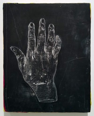 "Erin Washington. ""Two Years After Zeus,"" 2015. Chalk drawing of artist's hand two years after suture removal on panel, 5 x 7"