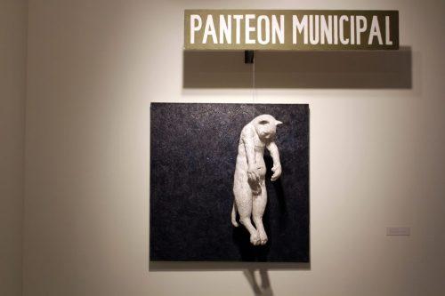 "Rodrigo Lara Zendejas. ""Panteón Municipal,"" 2014. Porcelain, oil, metal, wood, canvas, 56 x 62 x 19 inches"