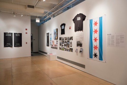 """Installation view of """"our duty to fight"""" at Gallery 400, Spring 2016. /Photo: Ji Yang"""