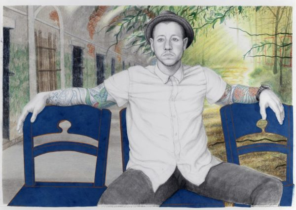 """Riva Lehrer, """"Chase Joynt,"""" 2014. Mixed media and collage on paper, 30 x 44 inches"""