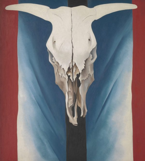 """Georgia O'Keeffe. """"Cow's Skull: Red, White, and Blue,"""" 1931. The Metropolitan Museum of Art, New York. Alfred Stieglitz Collection, 1952. © The Metropolitan Museum of Art. Art Resource, NY."""