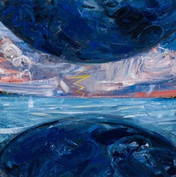 """John Santoro, """"Thunderstorm - Red,"""" 2016. Oil on canvas."""