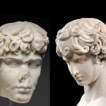 Left: Fragment of a Portrait Head of Antinous, mid-2nd century A.D. Roman.  Right: Bust of Antinous, mid-2nd century A.D. Roman, with 18th-century restorations. Museo Nazionale Romano, Palazzo Altemps, Rome /Photo: Stefano Castellani.