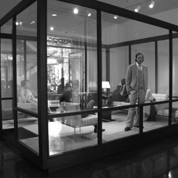 "Josiah McElheny with John Vinci, Dress rehearsal for ""The Club for Modern Fashions,"" 2013."