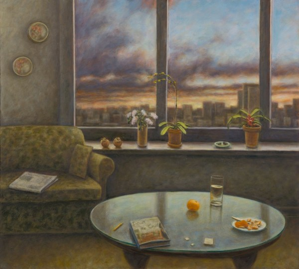 "Susan Kraut, ""Chicago Living Room, With Paris, He Said,"" 2016. Oil on panel, 36 x 40 inches"