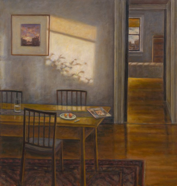 "Susan Kraut, ""New York Dining Room II, With Shadow,"" 2016. Oil on panel, 38 x 36 inches"