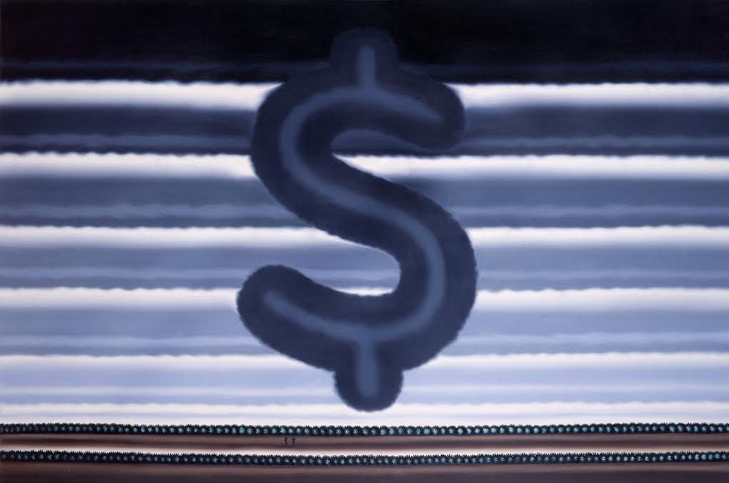 "Roger Brown, ""Landscape with Dollar Sign,"" 1991, Oil on canvas, 48 x 72 inches"
