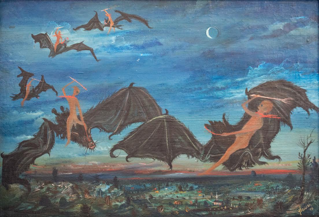 "Marshall Glasier, ""Night Tournement,"" 1947. Oil on panel"