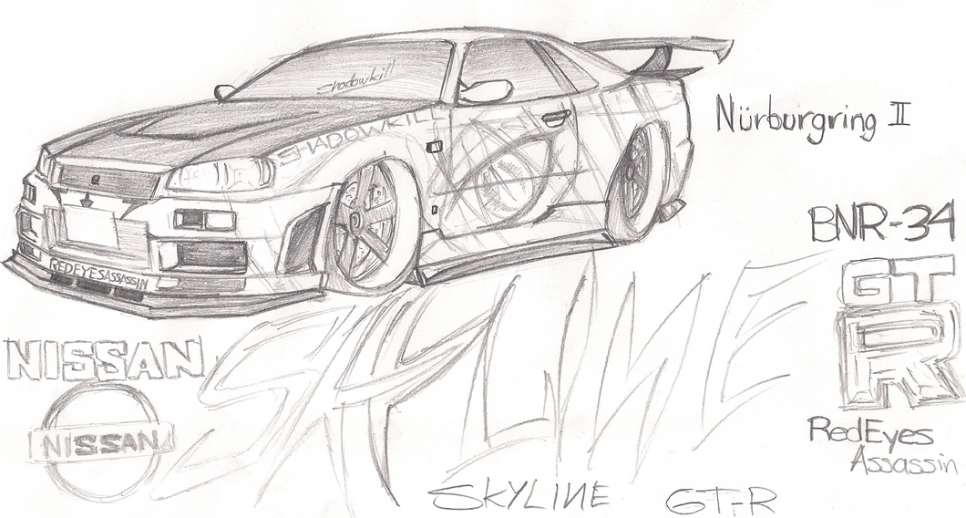 Coloring pages Nissan Skyline GTR 34