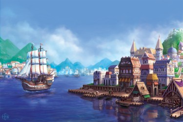 port deviantart concept town cities sea background water landscapes scenery th06 pre surrounded dragons legacy fs71 ships illustration drawings paintings