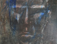 """detail of Warren Croce's painting """"CEO #3"""""""
