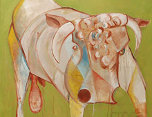 "detail of Warren Croce's painting ""Bull"""