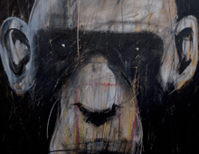 "detail of Warren Croce's painting ""Chimp #2"""