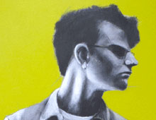 "detail of Warren Croce's painting ""Justin"""