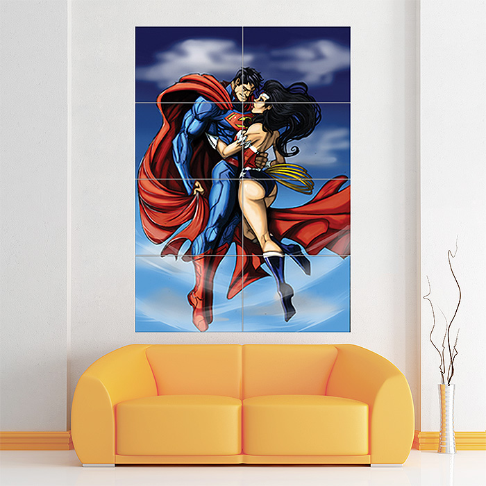 superman and wonder woman kiss block giant wall art poster