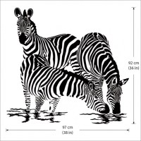 Large Animals Zebras Vinyl Wall Art Decal