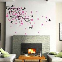 Cherry Blossom Branch with Butterflies Vinyl Wall Art Decal