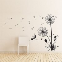 Dandelions Floral with fairies Vinyl Wall Art Decal