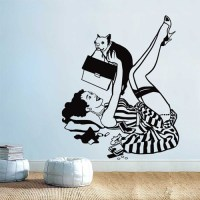 Lucky Dog Pin Up Girl with Dog Vinyl Wall Art Decal