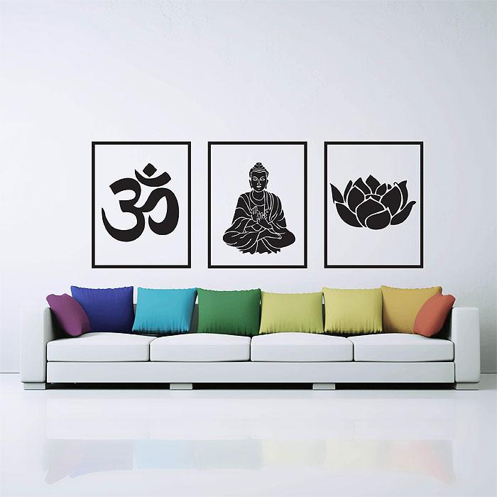Om Ohm Buddha Lotus Buddhism Symbol Vinyl Wall Art Decal Iltribuno