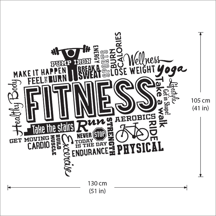 Fitness Word Cloud Vinyl Wall Art Decal