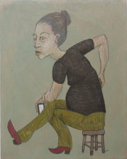 A drawing of a woman sitting on a stool wearing red boots and holding a smart phone in her hand. Her expression is unpleasant.