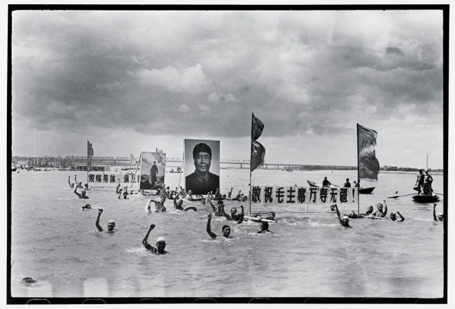 People in the Songhua River commemorate the one-year anniversary of Mao's swim in the Yangtze, which marked his return to power at the outbreak of the Cultural Revolution. Harbin, 16 July 1967. Image courtesy of Li Zhensheng