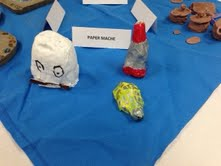 Paper Mache egg, space ship and hover turtle