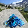 Happiness in turquoise fashion scarf in Whistler