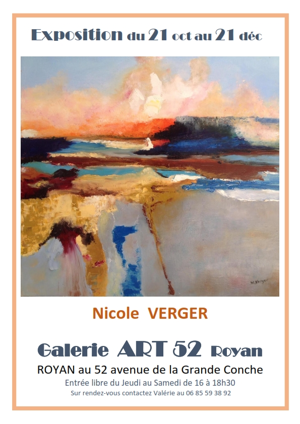 Exposition Nicole VERGER Galerie ART 52 ROYAN