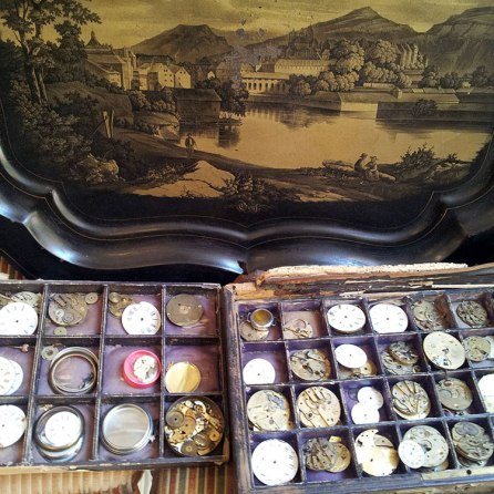 antique tray & watches