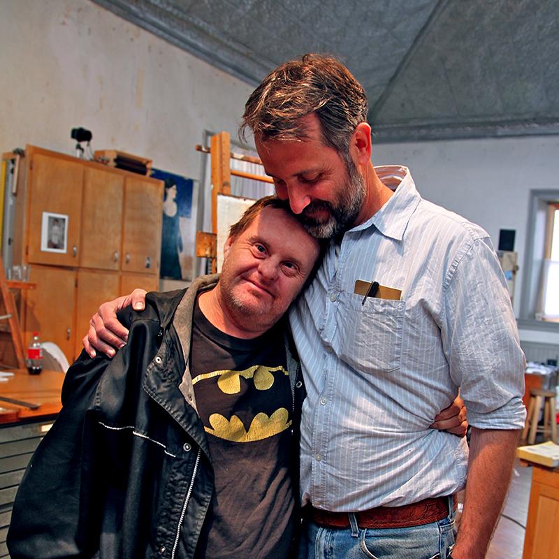 Joe Adams with Brian Kershisnik in his Kanosh studio.