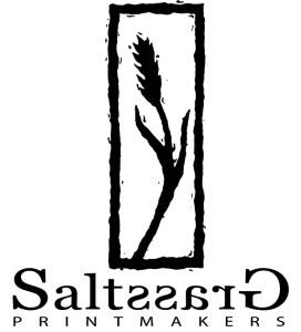 Saltgrass Printmakers logo with grass stalk in box