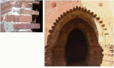 In case of arch, bricks are cut to form tapering voussoirs